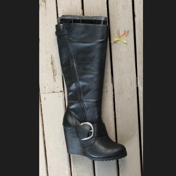 Shi by JOURNEYS Shoes - Shi by Journeys Macey Black Wedge Boots Knee-high